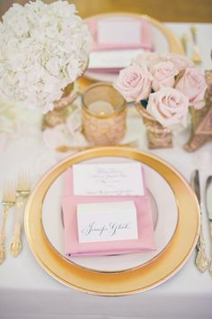 Place Settings | Wedding Colors: Pink + Gold | See the wedding on #SMP: http://www.stylemepretty.com/florida-weddings/st-petersburg/2012/11/21/st-petersburg-wedding-from-lucky-lemon-films-divine-light-photography/ Divine Light Photography