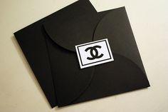 simple black square envelopes with logo sticker