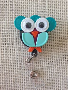 Owl ID Badge Holder - made from sterile IV vial tops
