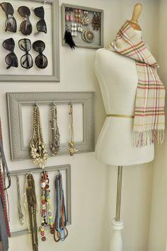 ORGANIZE :: Accessories wall created w/ painted frames & mug hooks