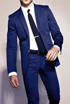 Bright blue suit, wo