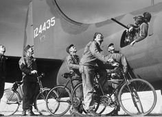 Not published in LIFE. A B-17 Flying Fortress' ground crew bids goodbye to Fortress gunners before bomber takes off on a raid in Europe, 1942. This B-17 was assigned to the 97th Bombardment Group