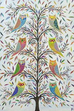Owls, beautiful owl art