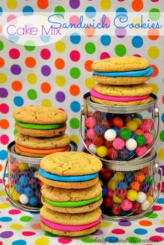 Cake Mix Sandwich Cookies can be made with Duncan Hines Yellow Cake mix by Lady Behind the Curtain.