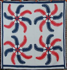 "PATRIOTIC 1880's Red White & Blue Prince's Feather Quilt seen on ebay.    This 1870's/1880's red, white and blue prince's feather quilt is hand appliqued and hand quilted in the classic four-block configuration.    It measures 76"" X 78""."