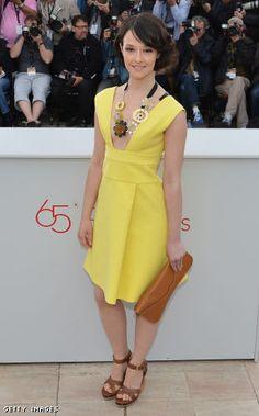 Italian actress Marta Gastini in yellow.
