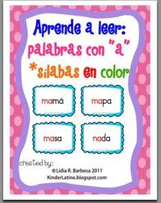 Aprende a leer: palabras con a -silabas en color-