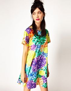 House of Holland Tee Dress in PomPom Floral
