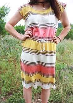 "A ""Texas Summer"" Drawstring-Waist Box Dress"