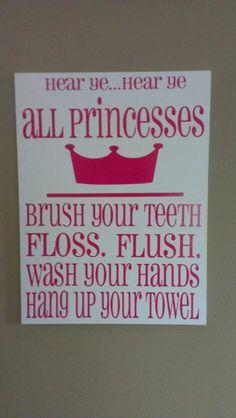 Bathroom Princess Sign by WordArtTreasures on Etsy, $15.00