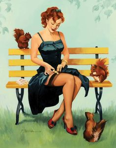 Getting ready for autumn. #pinup #girl #art #vintage #squirrels #fall