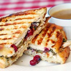 Without a doubt, this is my favorite way to enjoy leftover turkey!! Turkey Dressing and Gravy Panini via Rocks Recipes #turkey #Thanksgiving #panini #leftovers
