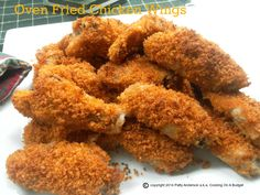 Tender succulent chicken with a crispy coating. Baked, not fried. http://pattyandersonsblog.blogspot.com/2014/09/oven-fried-chicken-wings.html