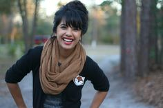 I am so in love with everything about this look. Scarf, tee, hair, lipstick, cardigan, fox pin. Too perfect.