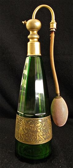 Antique Moser Emerald Green Facet Cut Perfume Bottle Atomizer 12 Signed C 1920