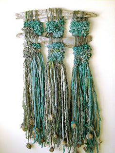 Marianne Werkmeister Textile Art - this kind of art is my favorite for summer doings - somewhere outside - using brocken branches  and long grass - listen to the birds and the bees!