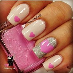 21 Valentine's Day Nail Art Ideas - Exquisite Girl nail art tutorials, heart nails, valentine day, pink nails, pink heart, nail designs, nail art ideas, nail arts, nail ideas