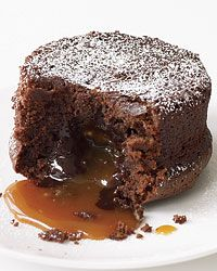 Molten Chocolate Cake with Caramel Filling Recipe on Food & Wine