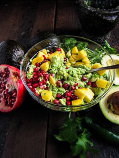 Mango Pomegranate Guacamole recipe. Yes!