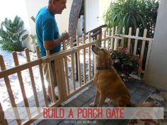 Learn how to build a porch gate - and make your dog happy! An easy weekend project. This picket fence design made this small porch extra inviting. Found on Front-Porch-Ideas-and-More.com #porch, #porchgate, #buildgate, #diygate