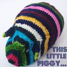 A very preppy piggy. Hand knit TOY  Guinea Pig  Hand painted yarn  A by PippsPurses, $16.00
