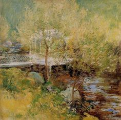 The White Bridge, John Henry Twachtman. American Tonalist, Impressionist Painter (1853-1902)