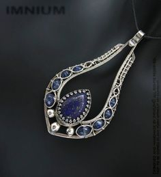 Lapis and kyanite pendant  solid sterling by IMNIUM, $270.00