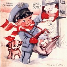 christma card, christmas cards, puppies, vintag christma, vintage christmas, vintag card, son, little boys, vintage cards