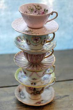 vintage teacups, tea time, tower, tea sets, teas