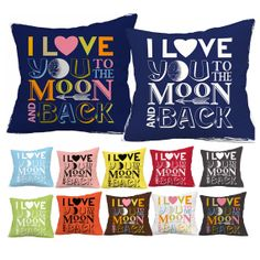 I Love You To The Moon And Back pillow cover sham throw cover home decor 18x18 gift dorm nursery baby toddler on Etsy, £15.62