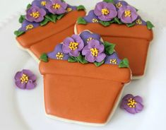 potted violet cookies