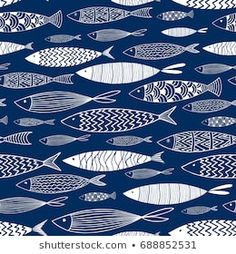 Seamless pattern of ornamental fish.Vector
