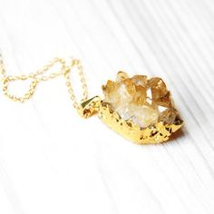 Citrine Necklace Gold Plate
