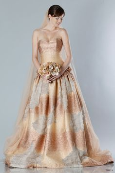 theia bridal fall 2013 color wedding dress strapless sweethaeart ball gown copper