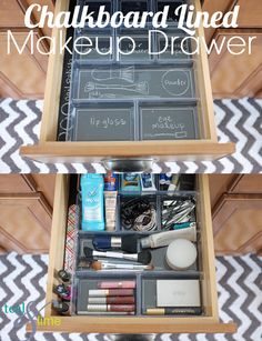 Chalkboard drawer liner for makeup drawer organization.... I dream of the day that I have a bathroom big enough for drawers :)