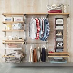Our Monorail System is an all-in-one way to organize a closet, pantry or laundry room.The adjustable rods and shelves hook directly onto vertical wall rails and we include everything you need to hang it and use it. Order by the set based on what you want to organize.
