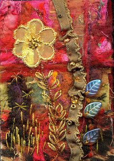 Felted and Embellished Art Quilt by molly jean hobbit, via Flickr