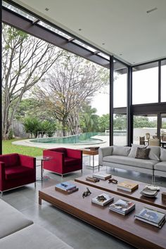 glass doors, brazil, houses, glass wall, contemporary interiors