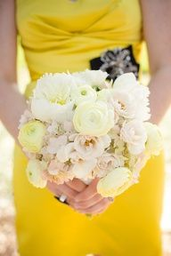 2013 Pantone Color | Lemon Zest - Yellow dress with pale yellow flowers - #pantone #lemonzest #bridal #bridesmaid #flowers