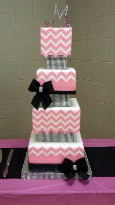 Pink, Black  and Glam Chevron Wedding Cake