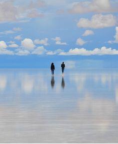 Salar de Uyuni salt flats in Bolivia - the largest mirror in the world when flooded.