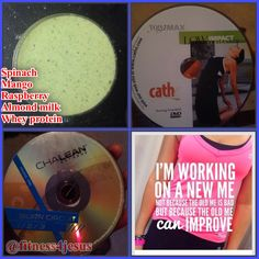 3/20/14: Chalean + Cathe YogaMax + green smoothie for breakfast