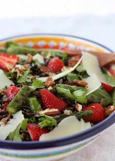 Spring Wild Rice Salad with Asparagus and Strawberries