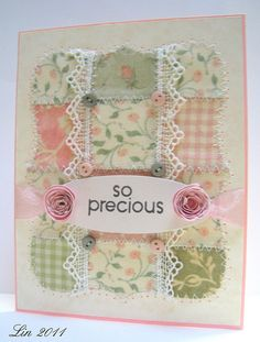 DP pieces & lace-another quilt card