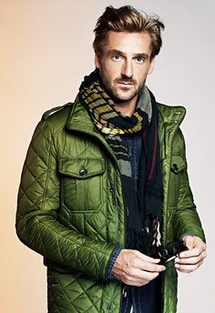 Green Quilted jacket, Plaid Scarf, and Denim Shirt. Men's Fall Winter Fashion.