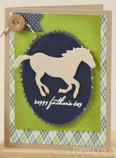 Combine masculine colors with elegant fonts for a masculine card; Kalyn Kepner - Paper Crafts & Scrapbooking June 2014; make cards, Father's Day, equestrian trend