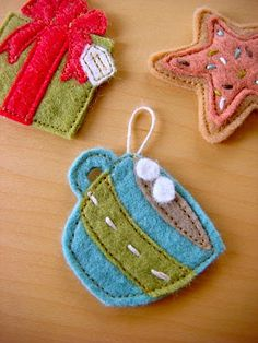 felt gift, cookie, hot chocolate ornaments