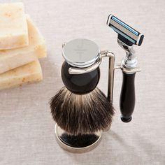 Personalized Men's Shaving Set Featuring Badger Hair Brush + Razor