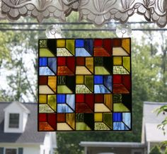 Stained Glass Panel Attic Window Quilt Block