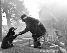 Friends, Dog and firefighter, Black and White Fine Art Photograph, photojournalism